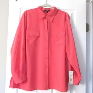 Woman's Coral Blouse w/ Long or Rolled Sleeves 3X